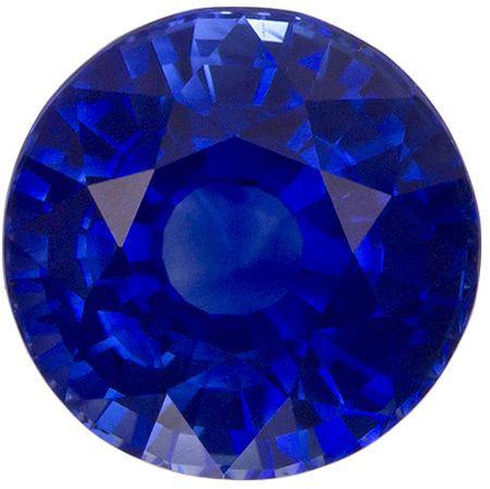 6.7 mm Blue Sapphire Genuine Gemstone in Round Cut, Vivid Blue, 1.71 carats