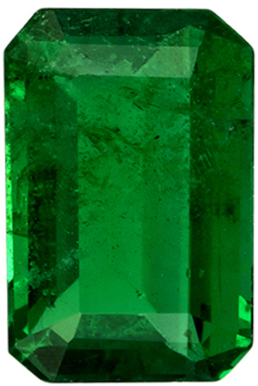 6 x 4 mm Emerald Genuine Gemstone in Emerald Cut, Vivid Green, 0.51 carats