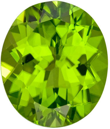 7.51 carats Peridot Loose Gemstone in Oval Cut, Medium Rich Green, 13 x 11 mm