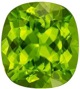 Classic 7.8 carats Green Peridot Cushion Genuine Gemstone, 13 x 11.6 mm