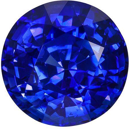 7.9 mm Blue Sapphire Genuine Gemstone in Round Cut, Medium Blue, 2.65 carats