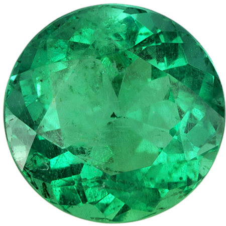 8 mm Emerald Genuine Gemstone in Round Cut, Vivid Green, 2.13 carats