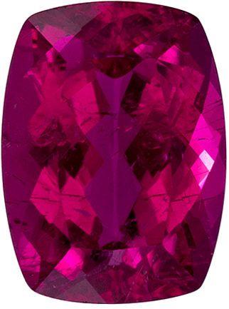 8 x 6 mm Rubellite Tourmaline Genuine Gemstone in Cushion Cut, Fuchsia Red, 1.42 carats