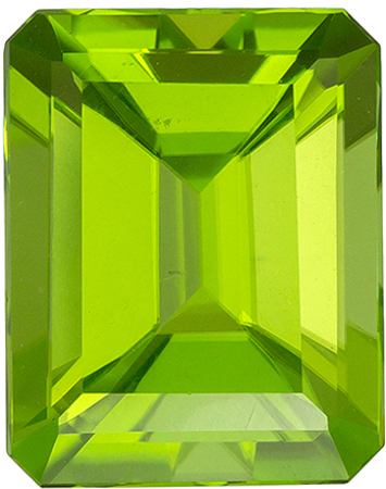 9.7 x 7.7 mm Peridot Genuine Gemstone in Emerald Cut, Medium Lime Green, 3.33 carats
