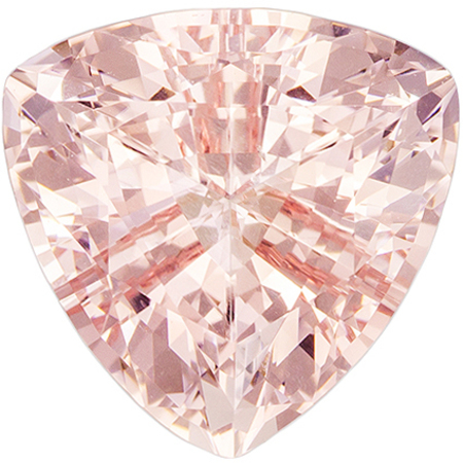 9 mm Morganite Genuine Gemstone in Trillion Cut, Rich Peach Pink, 2.43 carats