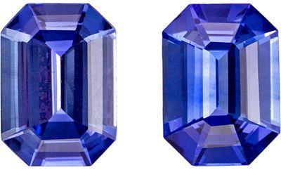A Beautiful 1.75 carats Sapphire Genuine Gemstone Pair in Emerald Cut, Intense Blue, 6.9 x 5 mm
