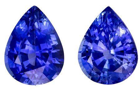 A Beautiful 3.61 carats Sapphire Loose Gemstone Pair in Pear Cut, Intense Blue, 8.9 x 6.8 mm