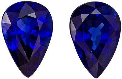 A Beautiful 6 x 4 mm Sapphire Genuine Gemstone Pair in Pear Cut, Medium Blue, 1 carats