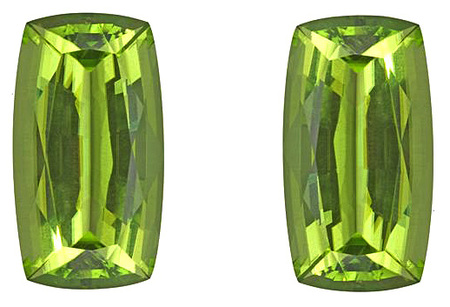 Alluring Natural Peridot Gemstones - Vivid Green Chartreuse, Antique Cushion Cut Matched Pair, 13.35 carats