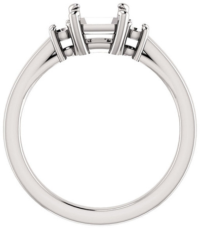Asscher 3Stone Ring Mounting for Gemstone Size 5mm to 7mm, Round Side Gems