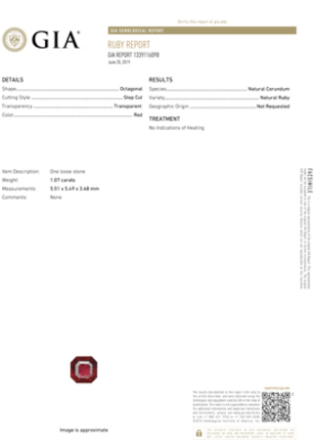 Attractive  No Heat Ruby Emerald Cut Genuine Gem, Medium Red, 5.51 x 5.49 x 3.48 mm, 1.07 carats GIA Certified