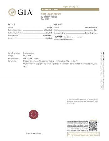 Authentic Fiery Ruby Gemstone, Round Cut, 1.53 carats, 7.06 x 7.2 x 3.95 mm , GIA Certified - A Beautiful Gem