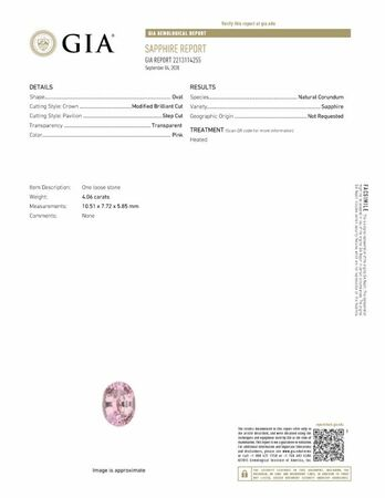 Authentic Pink Sapphire Gemstone, Oval Cut, 4.06 carats, 10.51 x 7.72 x 5.85 mm , GIA Certified - A Low Price