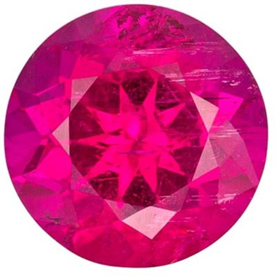 Beautiful Rubellite Tourmaline Gemstone in Round Cut, Medium Fuchsia Pink, 7.8 mm, 1.95 carats