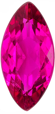 Beautiful Rubellite Tourmaline Loose Gem in Marquise Cut, 10.2 x 5.1 mm, Rich Fuchsia, 1.12 carats
