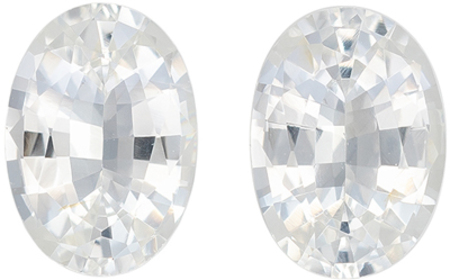 Beautiful White Sapphire Matching Gemstone Pair in Oval Cut, 1.77 carats, Diamond Looking, 7 x 5 mm