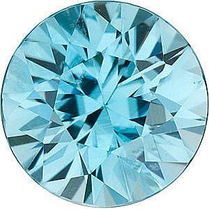 Blue Zircon Round Cut in Grade AAA