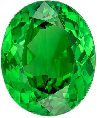 Bright Genuine Tsavorite Gem in Oval Cut, 8.7 x 7.2 mm in Gorgeous Vivid Grass Green, 2.04 carats