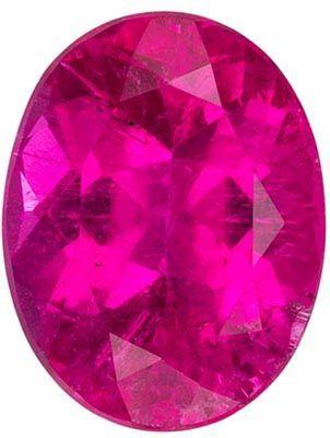 Bright & Lively Rubellite Tourmaline Gemstone in Oval Cut, Intense Fuchsia, 9.1 x 7.1 mm, 2.09 carats