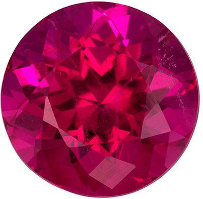 Bright & Lively Rubellite Tourmaline Loose Gem in Round Cut, 2.92 carats, Reddish Fuchsia, 9 mm