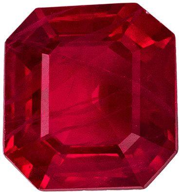 Bright & Lively Ruby Genuine Gemstone, Emerald Cut, Vivid Rich Red, 5.2 x 4.8 mm, 0.6 carats