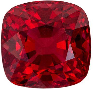 Super Fine Burma Red Spinel Gemstone, Cushion Cut, Rich Pure Red, 2.21 carats , 7.1 x 7.0 mm