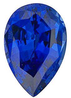 Chatham Lab Blue Sapphire Pear Cut in Grade GEM