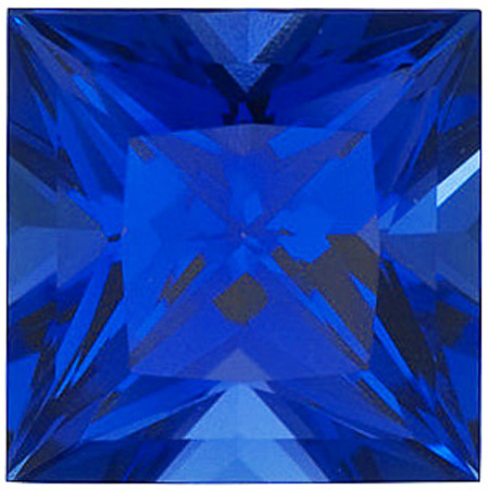 Chatham Lab Blue Sapphire Princess Cut in Grade GEM