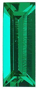 Chatham Lab Emerald Baguette Cut in Grade GEM
