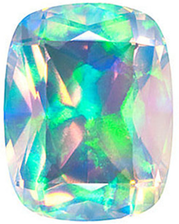 Chatham Lab Faceted White Opal Antique Cushion Cut in Grade GEM