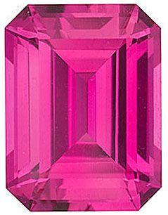 Chatham Lab Pink Sapphire Emerald Cut in Grade GEM