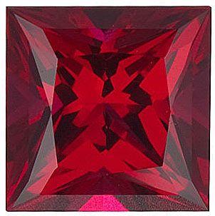 Chatham Lab Ruby Princess Cut in Grade GEM