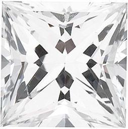 Chatham Lab White Sapphire Princess Cut in Grade GEM