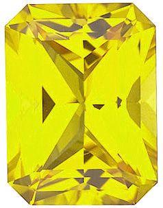 Chatham Lab Yellow Sapphire Emerald Cut in Grade GEM