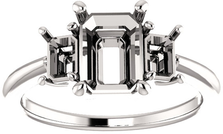 Classic 3Stone Ring With Emerald Cut Side Gems  For Emerald Center Gem Size 6 x 8mm to 10 x 8mm