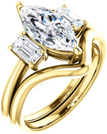 Classic 3Stone Ring With Emerald Cut Side Gems  For Marquise Center Gem Size 7 x 3.50mm to 12 x 6mm