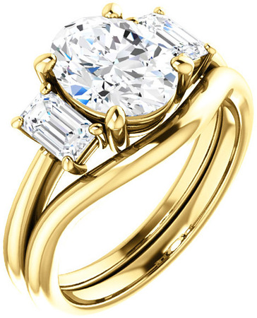 Classic 3Stone Ring With Emerald Cut Side Gems  For Oval Center Gem Size 6 x 4mm to 10 x 8mm