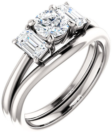 Classic 3Stone Ring With Emerald Cut Side Gems  For Round Center Gem Size 5.20mm to 10mm