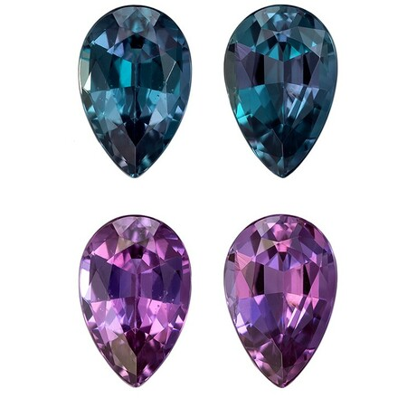 Deal on Alexandrite Pear Shaped Gemstones Matched Pair, 0.66 carats, 5.3 x 3.4mm - Low Price