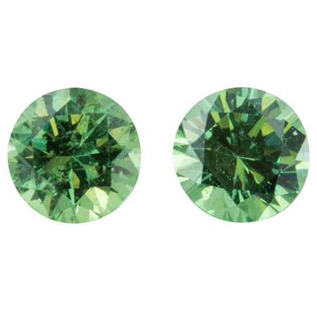 Deal on Demantoid Garnet Well Matched Gem Pair in Round Cut, 1.5 carats, 5.40 mm Displays Pure Green Color