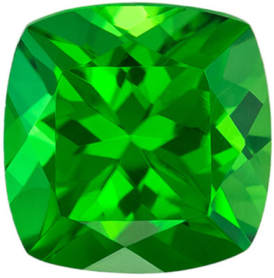 Deal on Genuine Chrome Tourmaline Gem in Cushion Cut, 6.6 mm in Gorgeous Rich Grass Green, 1.4 carats