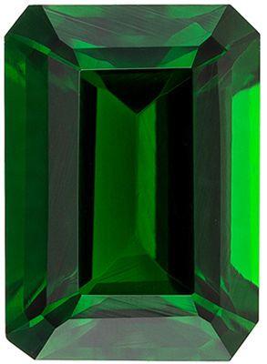Deal on Genuine Chrome Tourmaline Gem in Emerald Cut, 7.1 x 5.1 mm in Gorgeous Vivid Grass Green, 1.12 carats