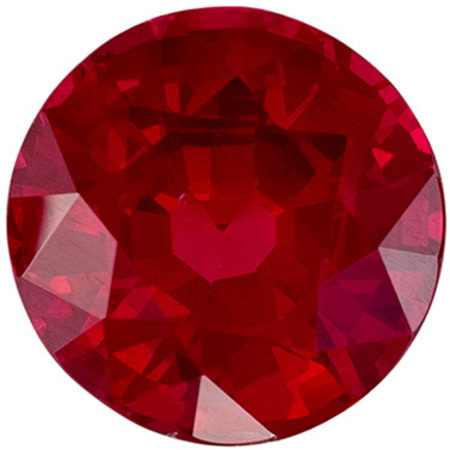 Deal on Genuine Ruby Gem in Round Cut, 6 mm in Gorgeous Vivid Rich Red, 1.14 carats