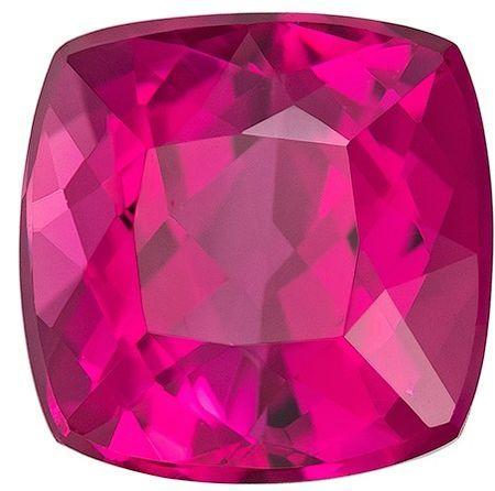 A Beauty of A Gem  Rubellite Tourmaline Genuine Gemstone, 2.46 carats, Cushion Shape, 7.5 mm