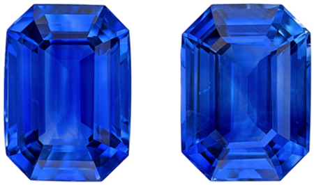 Deal On Well Matched Blue Sapphire Pair in Emerald Cut, 7 x 5 mm, Vivid Medium Blue Color, 2.55 carats