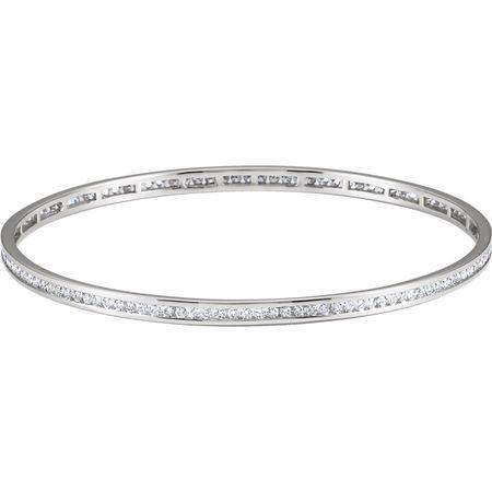 White Diamond Bracelet in Diamond Stackable Bangle Bracelet