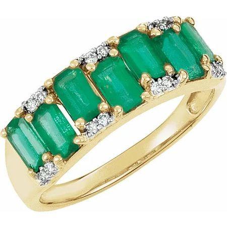 Emerald & Diamond Accented Ring