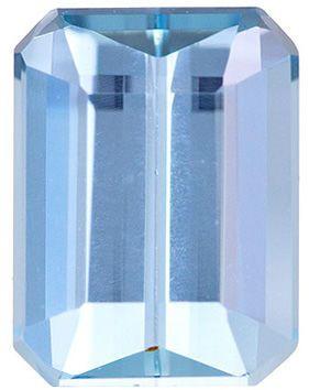 Excellent Aquamarine Genuine Loose Gemstone in Emerald Cut, 1.51 carats, Vivid Rich Blue, 8 x 6.1 mm
