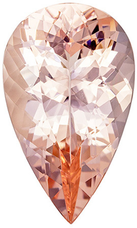 Peach Galore in Stunning Morganite Gemstone in Pear Cut, Gorgeous Vivid Pure Peach Color in 6.08 carats , 17.4 x 10.4 mm