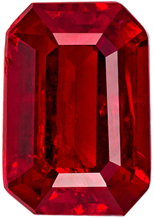 Excellent Ruby Genuine Loose Gemstone in Emerald Cut, 1.06 carats, Medium Pure Red, 6.9 x 4.7 mm
